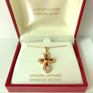 Gold over Sterling Cross Necklace Diamond Sapphire